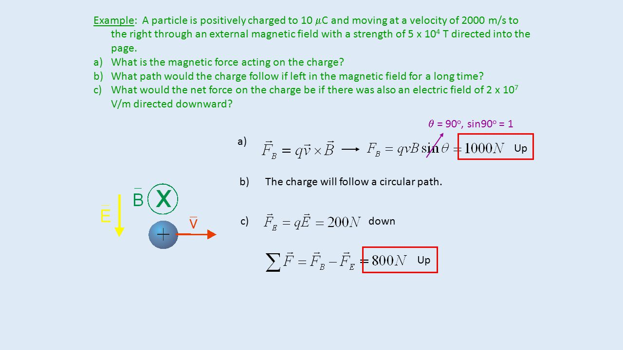 Example: A particle is positively charged to 10 mC and moving at a velocity of 2000 m/s to the right through an external magnetic field with a strength of 5 x 104 T directed into the page.