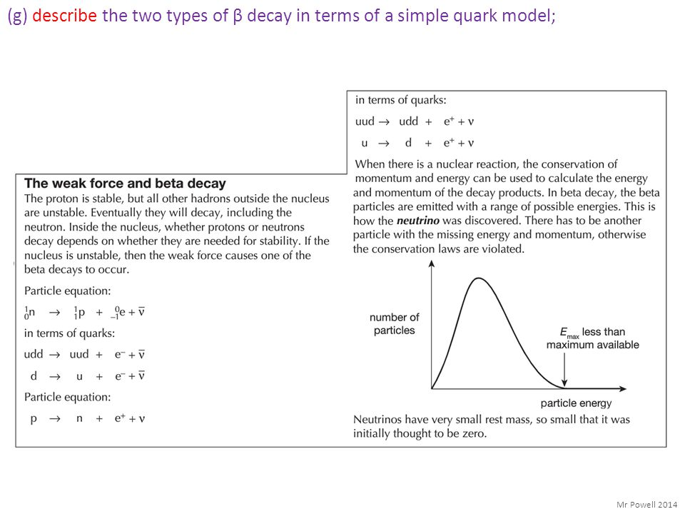 (g) describe the two types of β decay in terms of a simple quark model;