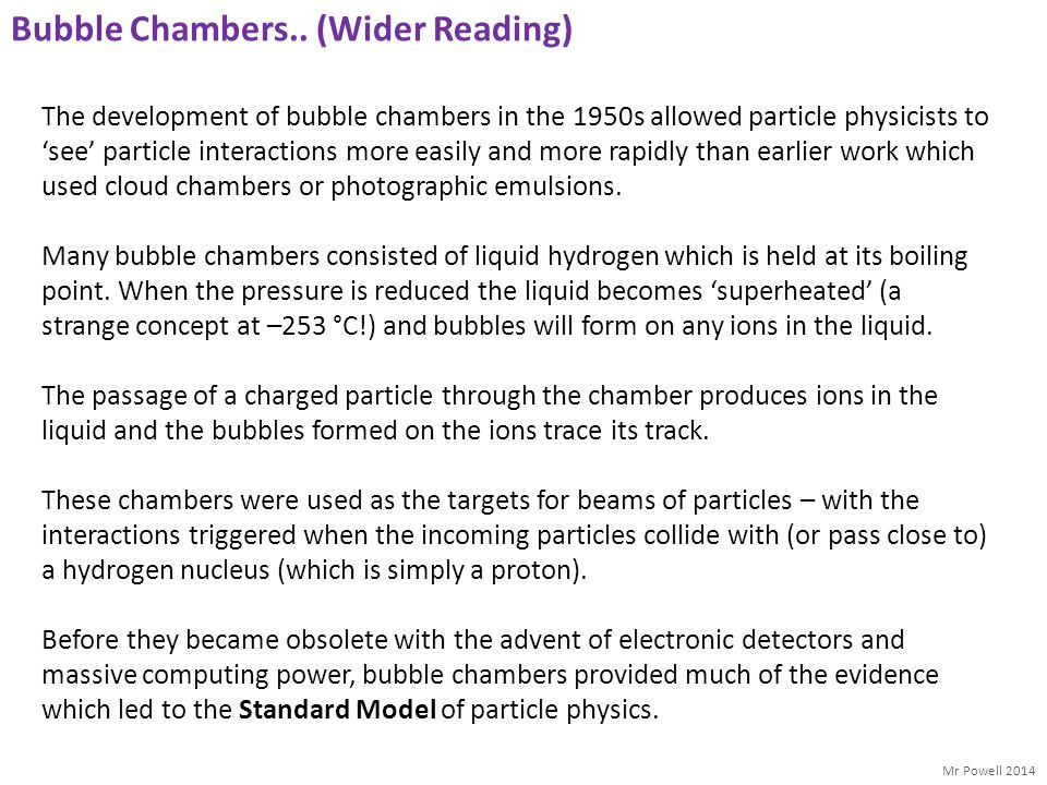 Bubble Chambers.. (Wider Reading)