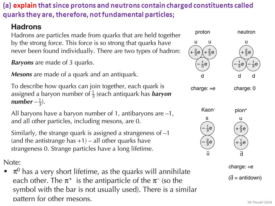 (a) explain that since protons and neutrons contain charged constituents called quarks they are, therefore, not fundamental particles;