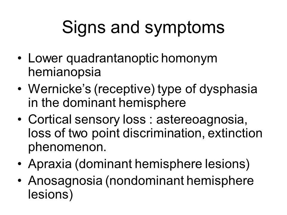 Signs and symptoms Lower quadrantanoptic homonym hemianopsia