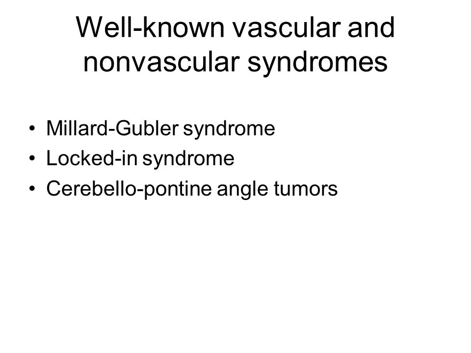 Well-known vascular and nonvascular syndromes