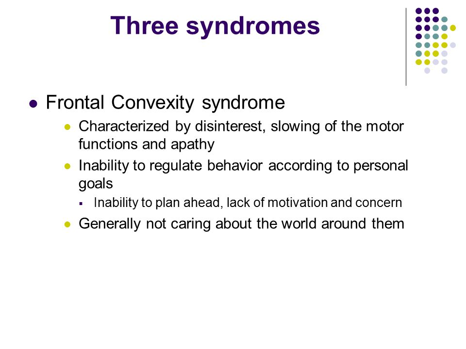 Three syndromes Frontal Convexity syndrome