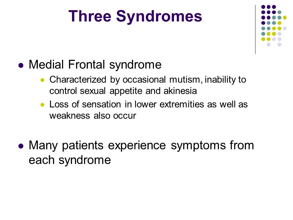 Three Syndromes Medial Frontal syndrome