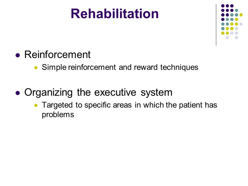 Rehabilitation Reinforcement Organizing the executive system