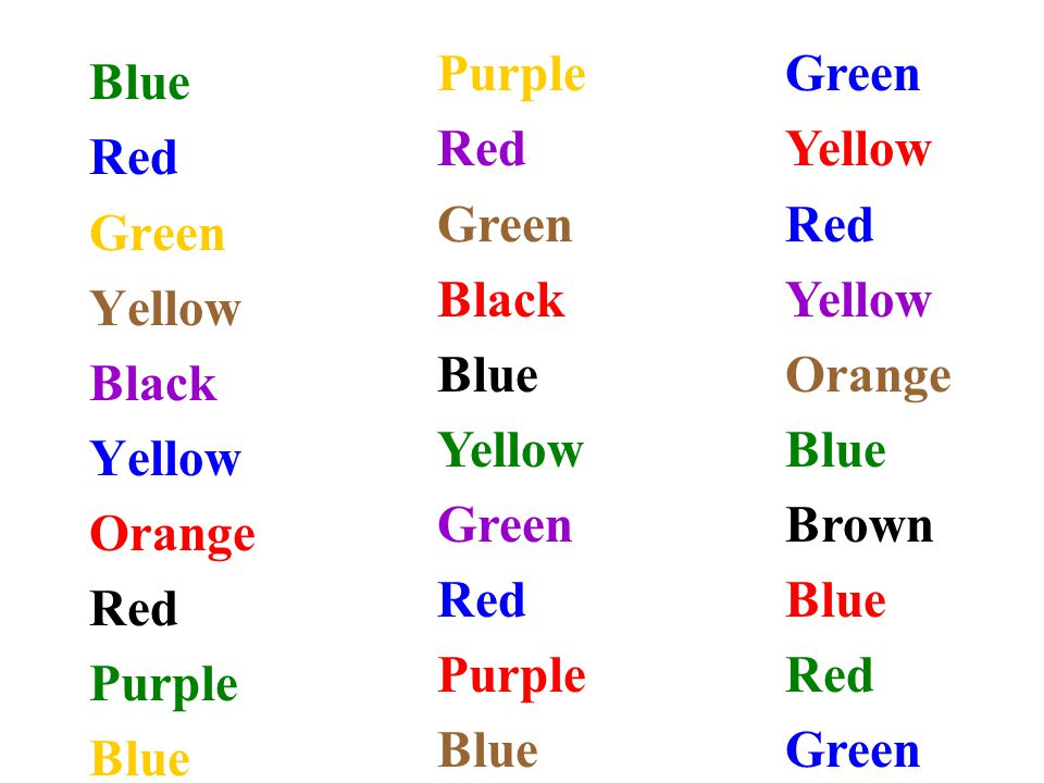 Purple Red Green Black Blue Yellow Green Yellow Red Orange Blue Brown