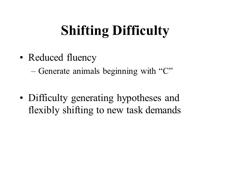 Shifting Difficulty Reduced fluency