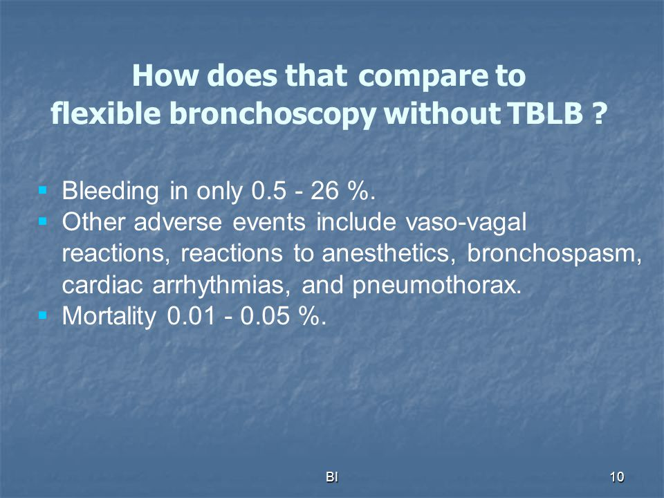 How does that compare to flexible bronchoscopy without TBLB