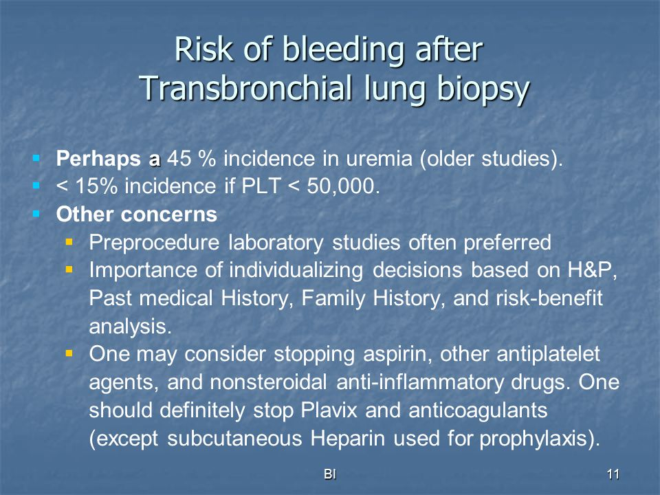 Risk of bleeding after Transbronchial lung biopsy