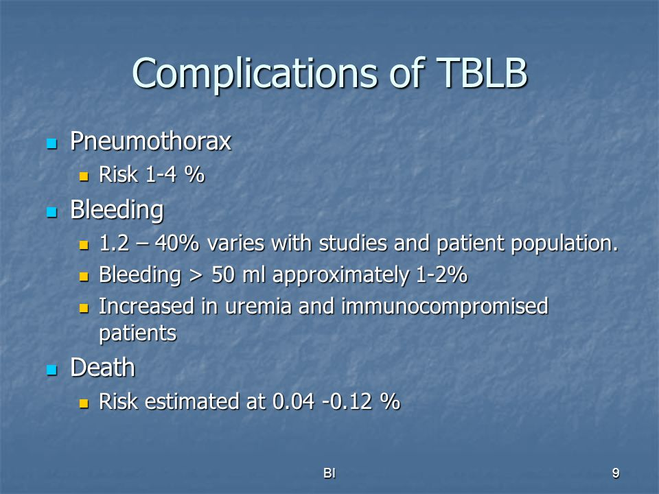 Complications of TBLB Pneumothorax Bleeding Death Risk 1-4 %