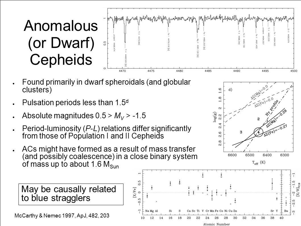 Anomalous (or Dwarf) Cepheids