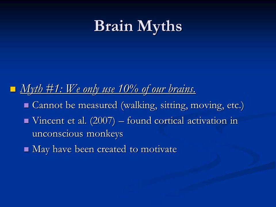 Brain Myths Myth #1: We only use 10% of our brains.