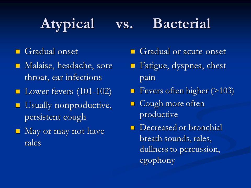 Atypical vs. Bacterial Gradual onset