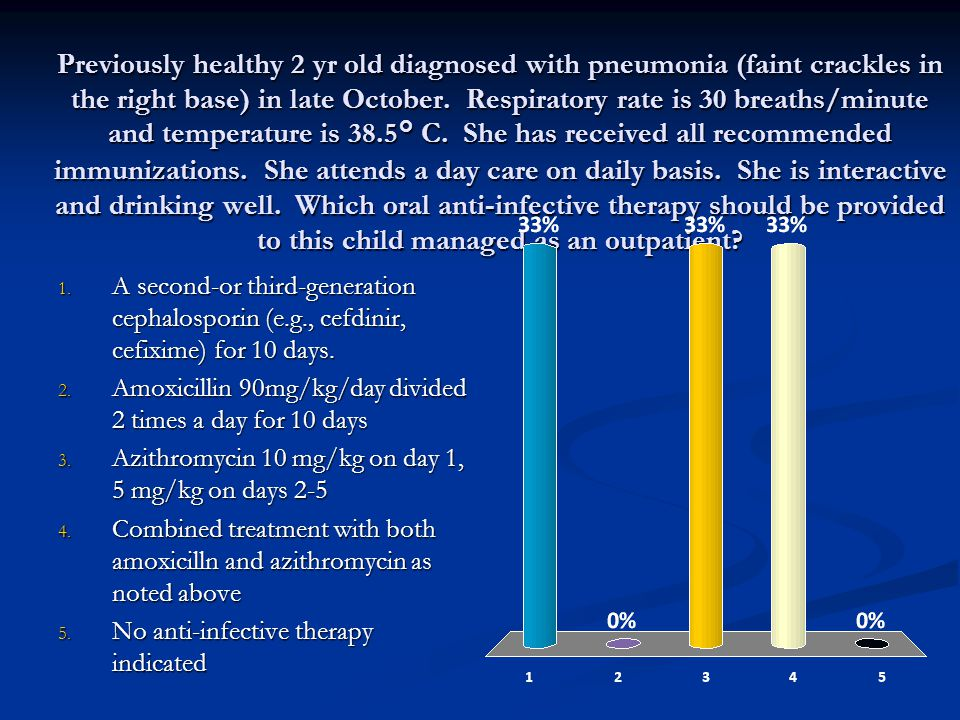 Previously healthy 2 yr old diagnosed with pneumonia (faint crackles in the right base) in late October. Respiratory rate is 30 breaths/minute and temperature is 38.5° C. She has received all recommended immunizations. She attends a day care on daily basis. She is interactive and drinking well. Which oral anti-infective therapy should be provided to this child managed as an outpatient
