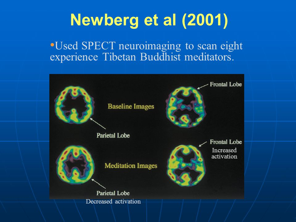Newberg et al (2001) Used SPECT neuroimaging to scan eight experience Tibetan Buddhist meditators. Increased.