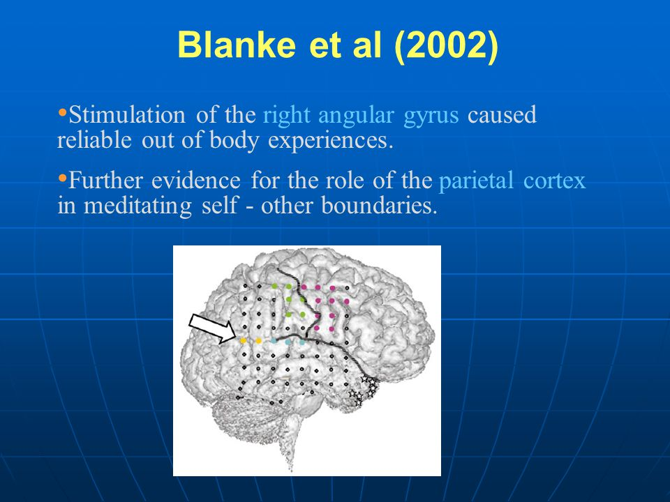 Blanke et al (2002) Stimulation of the right angular gyrus caused reliable out of body experiences.