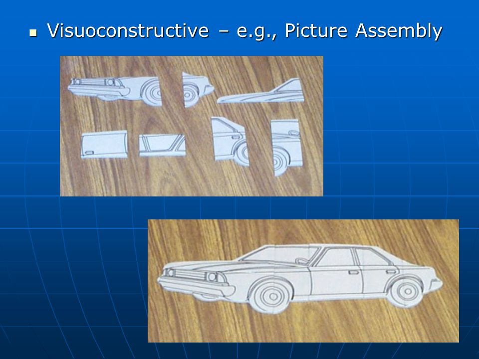 Visuoconstructive – e.g., Picture Assembly