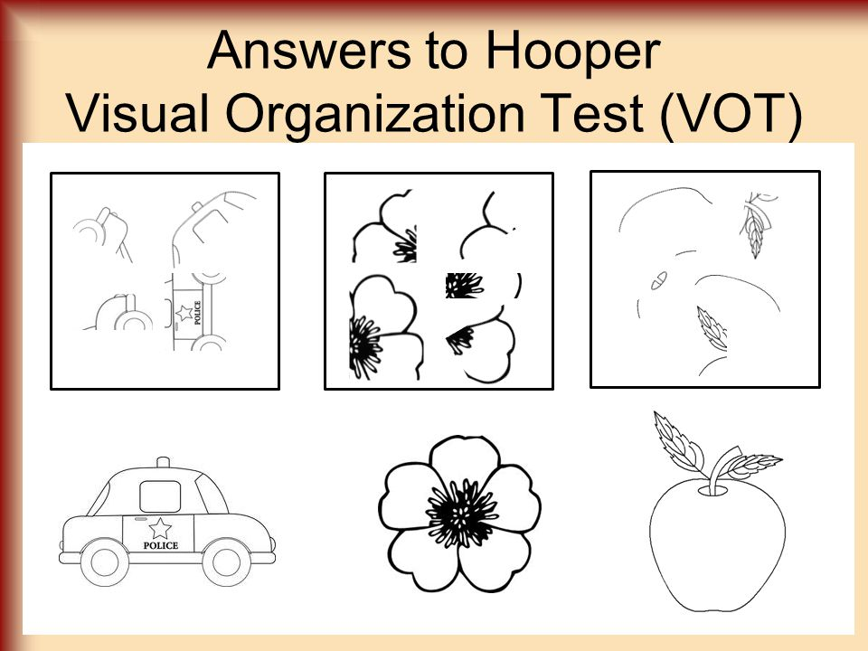 Answers to Hooper Visual Organization Test (VOT)