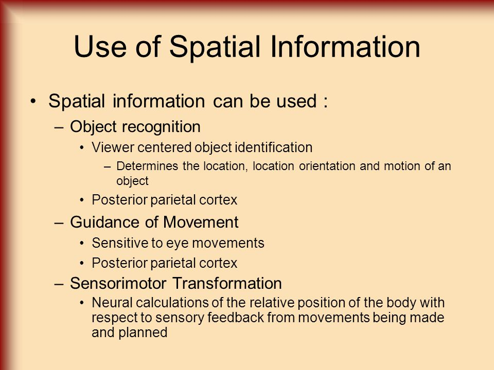 Use of Spatial Information