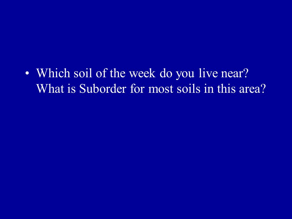 Which soil of the week do you live near