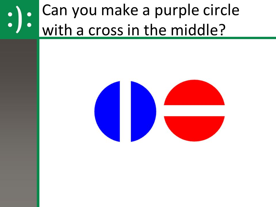 Can you make a purple circle with a cross in the middle