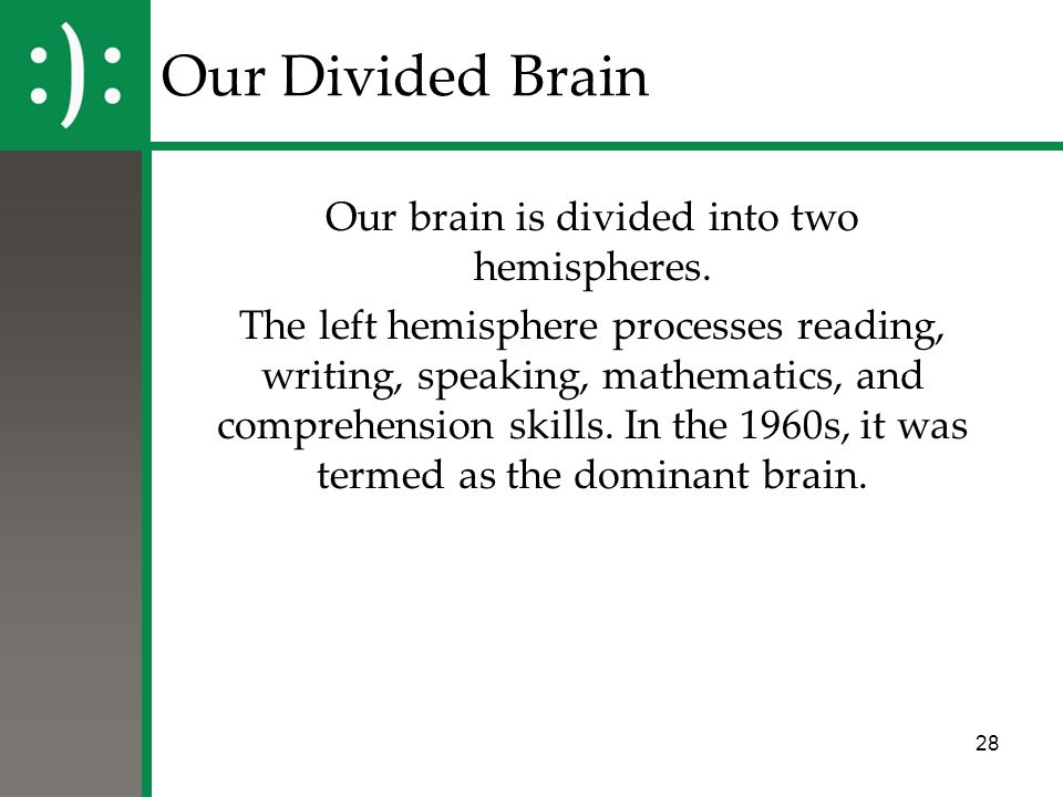 Our brain is divided into two hemispheres.