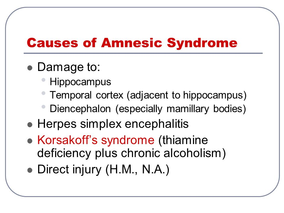 Causes of Amnesic Syndrome