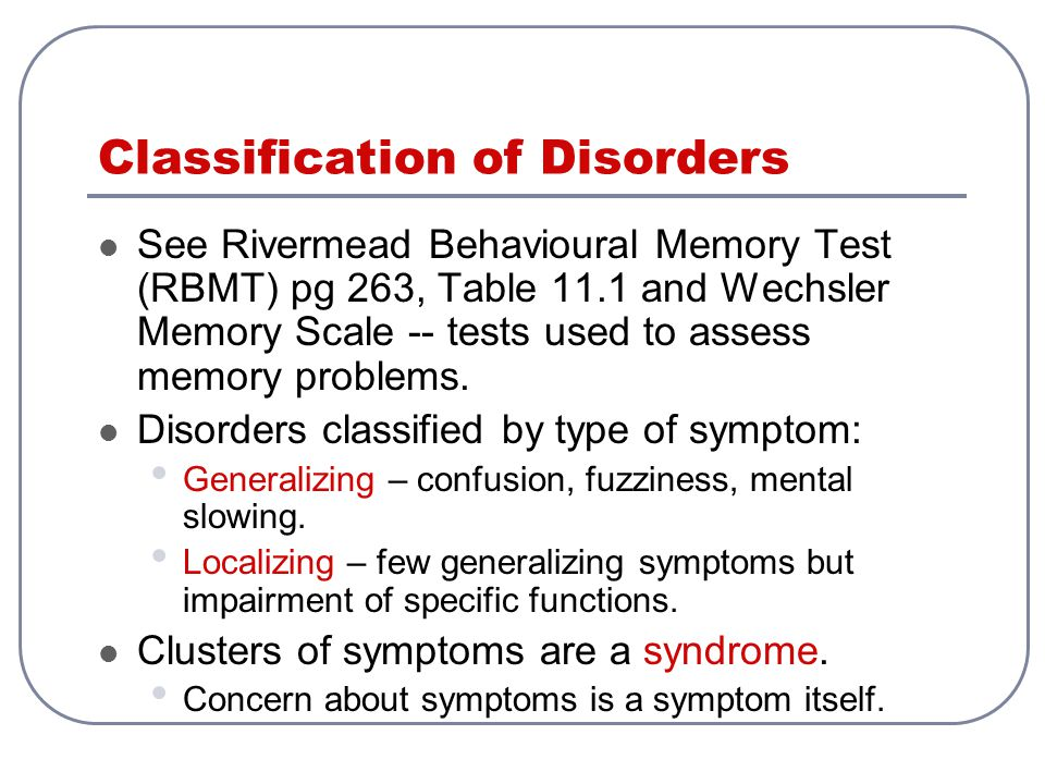 Classification of Disorders