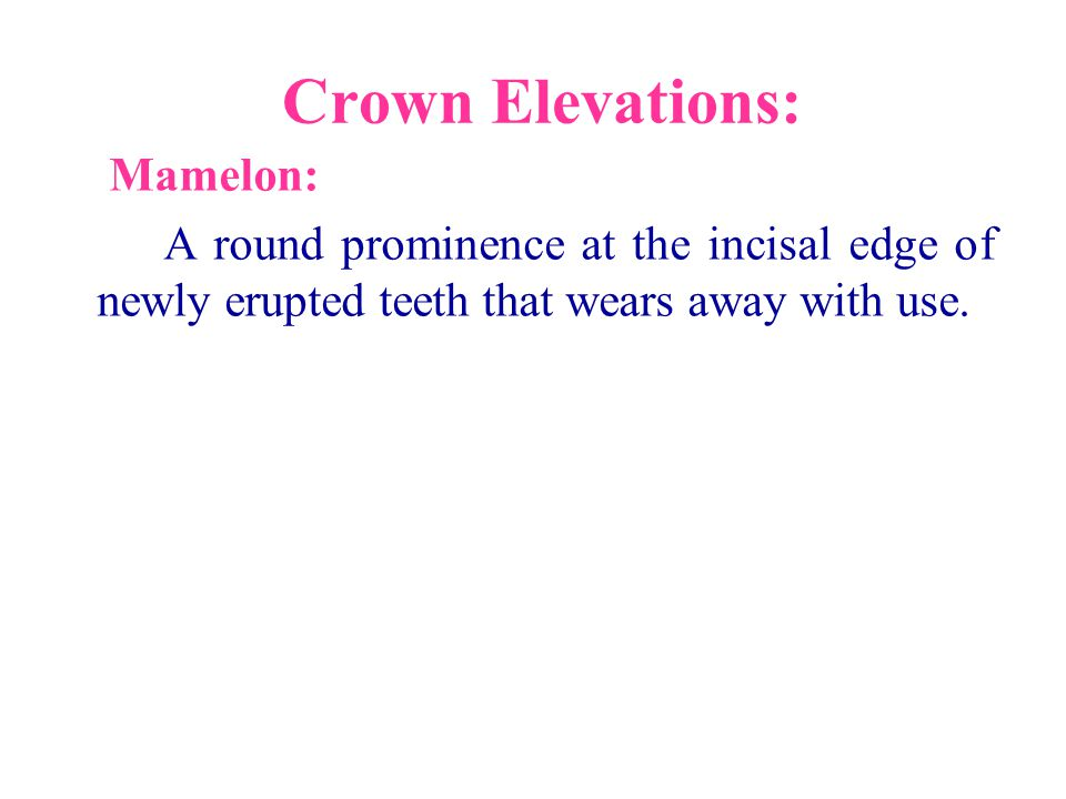 Crown Elevations: Mamelon: