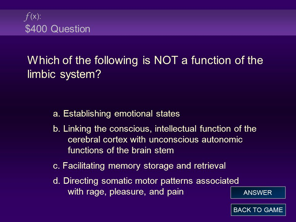 Which of the following is NOT a function of the limbic system