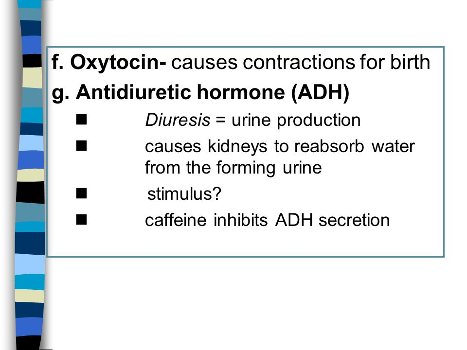 f. Oxytocin- causes contractions for birth