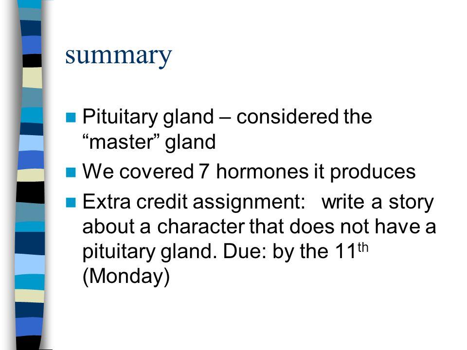 summary Pituitary gland – considered the master gland