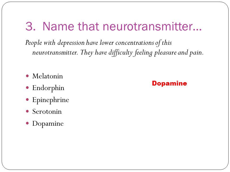 3. Name that neurotransmitter…