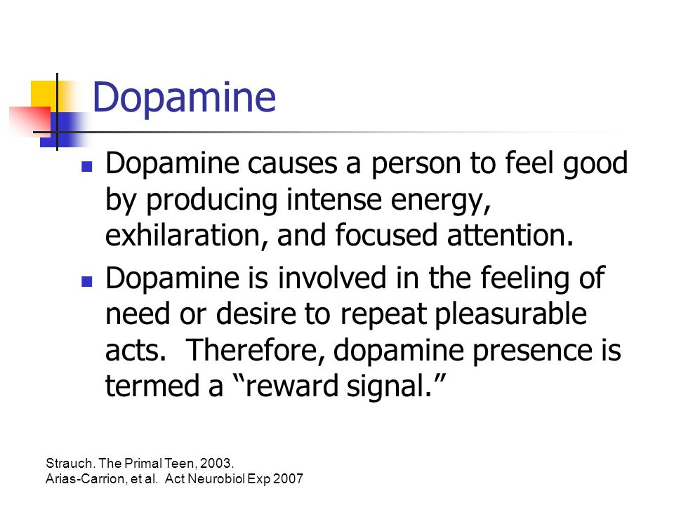 Dopamine Dopamine causes a person to feel good by producing intense energy, exhilaration, and focused attention.