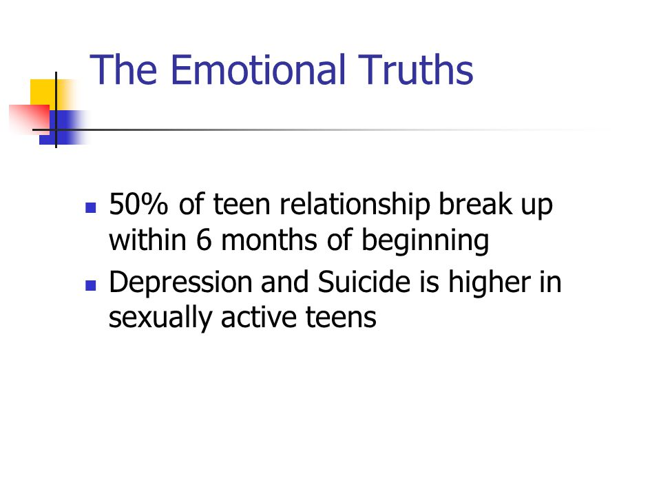 The Emotional Truths 50% of teen relationship break up within 6 months of beginning.