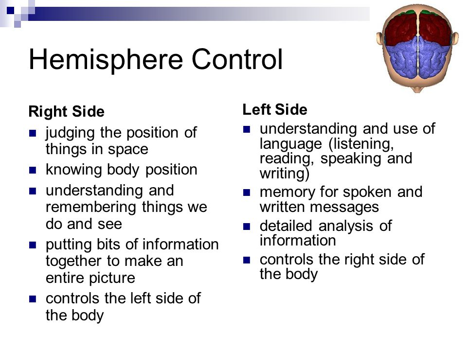 Hemisphere Control Right Side judging the position of things in space