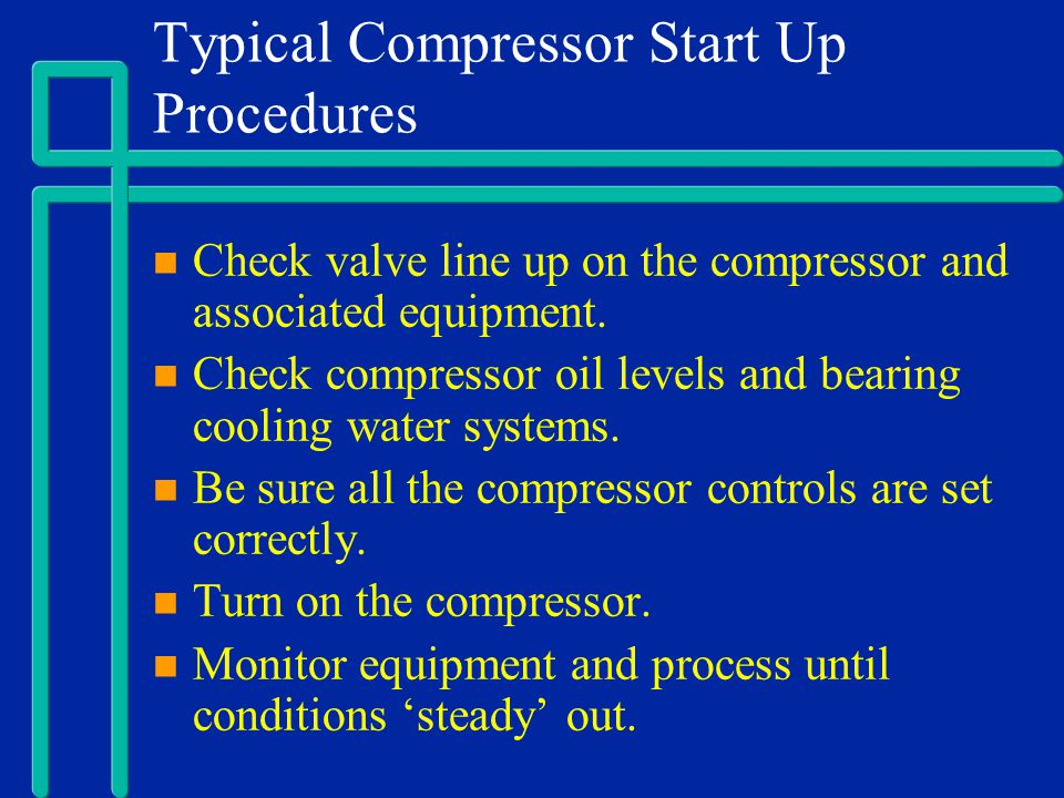 Typical Compressor Start Up Procedures
