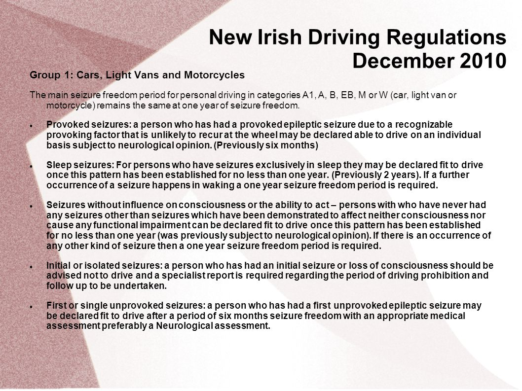 New Irish Driving Regulations December 2010