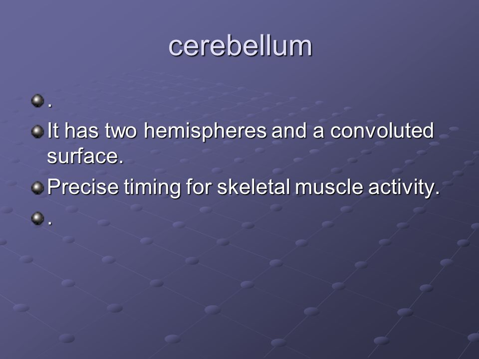 cerebellum . It has two hemispheres and a convoluted surface.