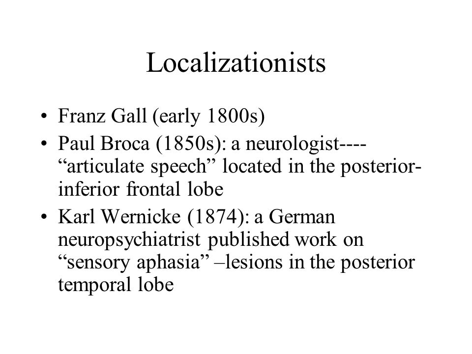 Localizationists Franz Gall (early 1800s)