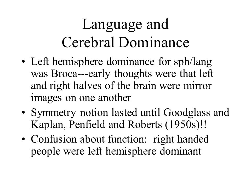 Language and Cerebral Dominance