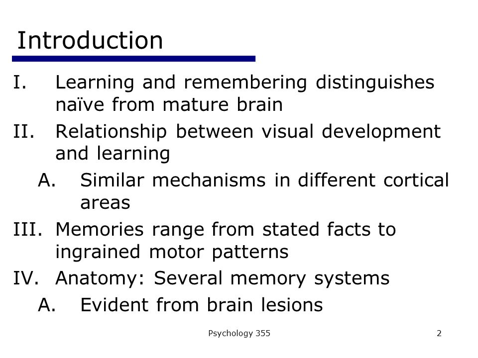 Introduction Learning and remembering distinguishes naïve from mature brain. Relationship between visual development and learning.