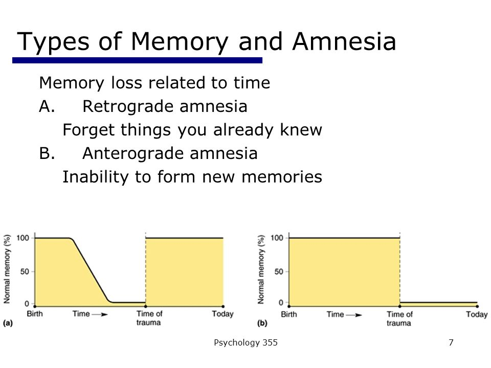 describe the type of memory loss Amnesia in the movies  amnesia (or memory loss) has featured often in hollywood films for almost a century by 1926,  (among many other types of education) and those that do deserve to be.