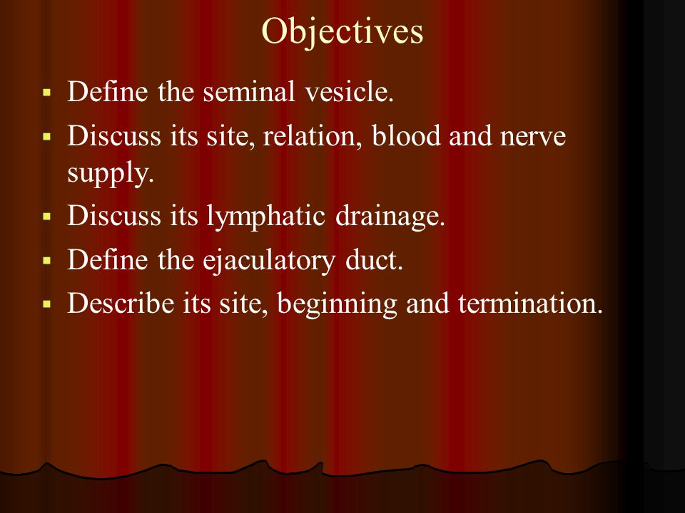 Objectives Define the seminal vesicle.