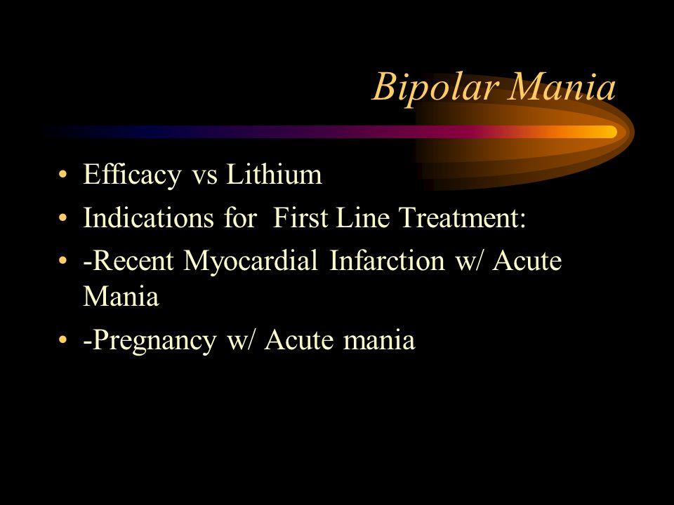 Bipolar Mania Efficacy vs Lithium