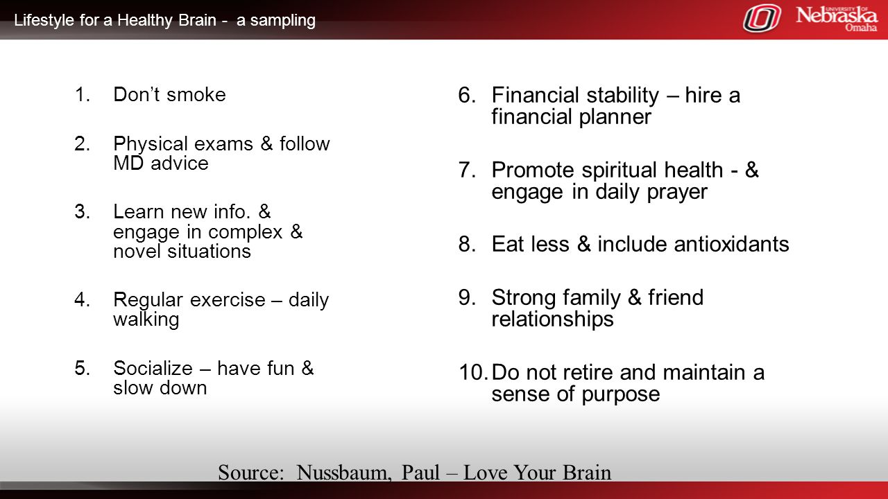 Lifestyle for a Healthy Brain - a sampling