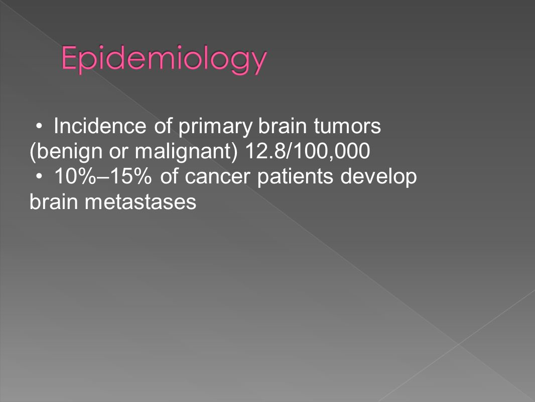 Incidence of primary brain tumors (benign or malignant) 12.8/100,000