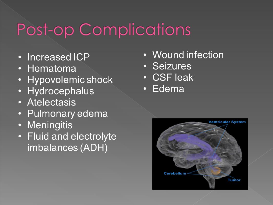 Wound infection Seizures. CSF leak. Edema. Increased ICP. Hematoma. Hypovolemic shock. Hydrocephalus.