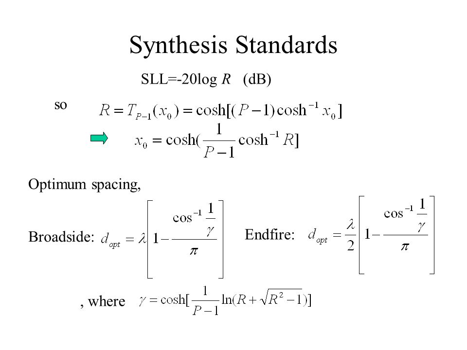 Synthesis Standards SLL=-20log R (dB) so Optimum spacing, Endfire: