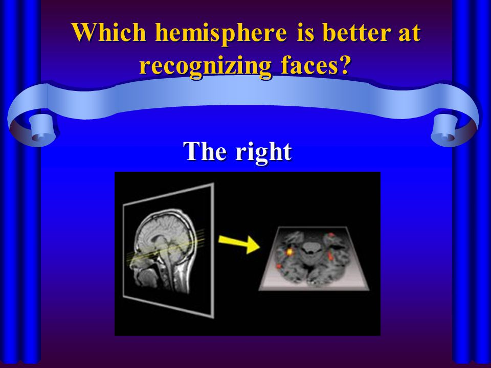 Which hemisphere is better at recognizing faces